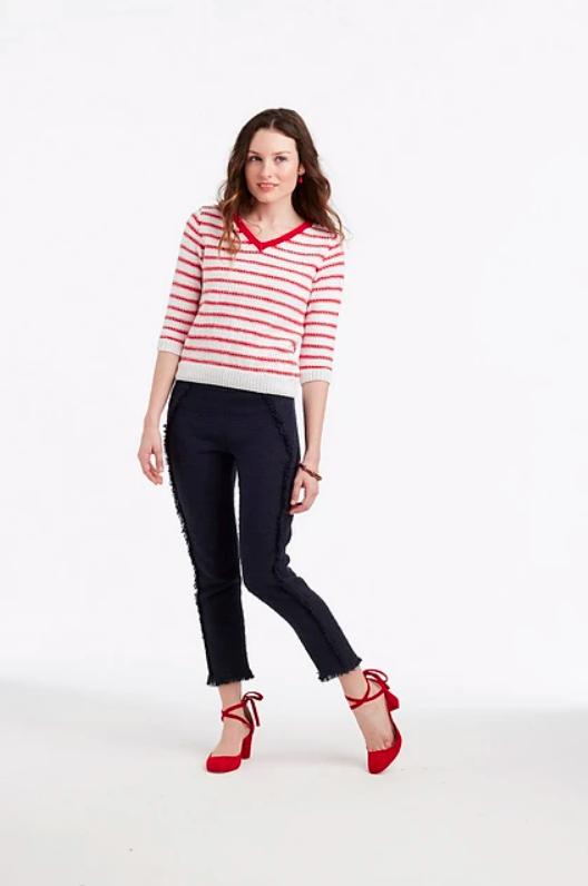 Linen St Stripe Pullover